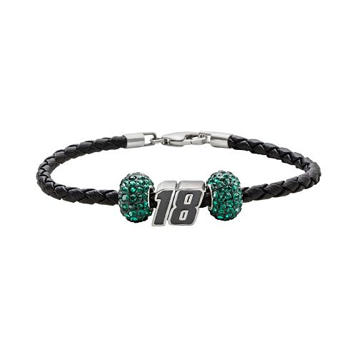 """Insignia Collection NASCAR Kyle Busch Leather Bracelet & Sterling Silver Crystal & """"18"""" Bead Set"""