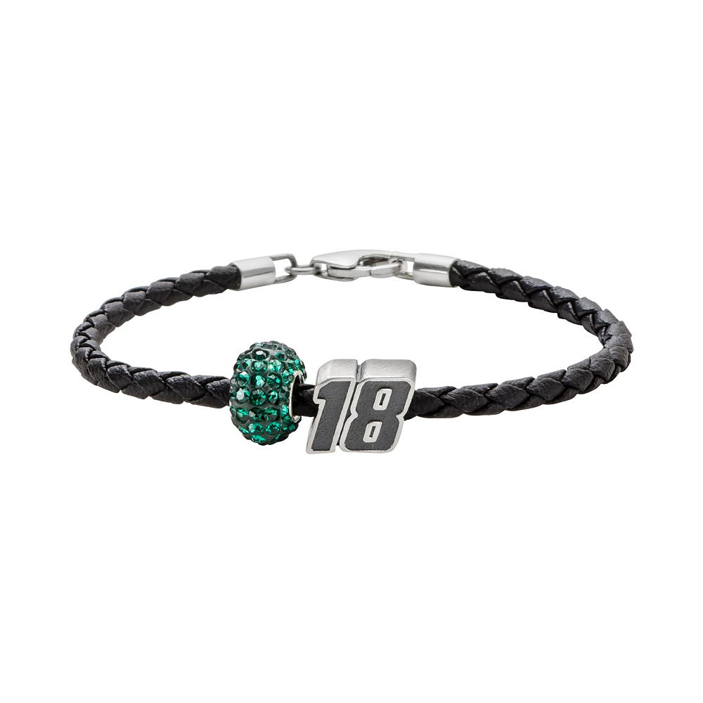 "Insignia Collection NASCAR Kyle Busch Leather Bracelet & ""18"" Bead & Crystal Bead Set"