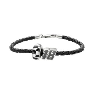 Insignia Collection NASCAR Kyle Busch Leather Bracelet and Sterling Silver 18 Bead Set