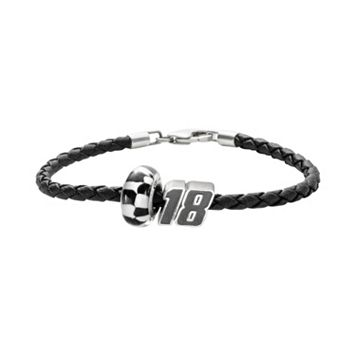 Insignia Collection NASCAR Kyle Busch Leather Bracelet & Sterling Silver