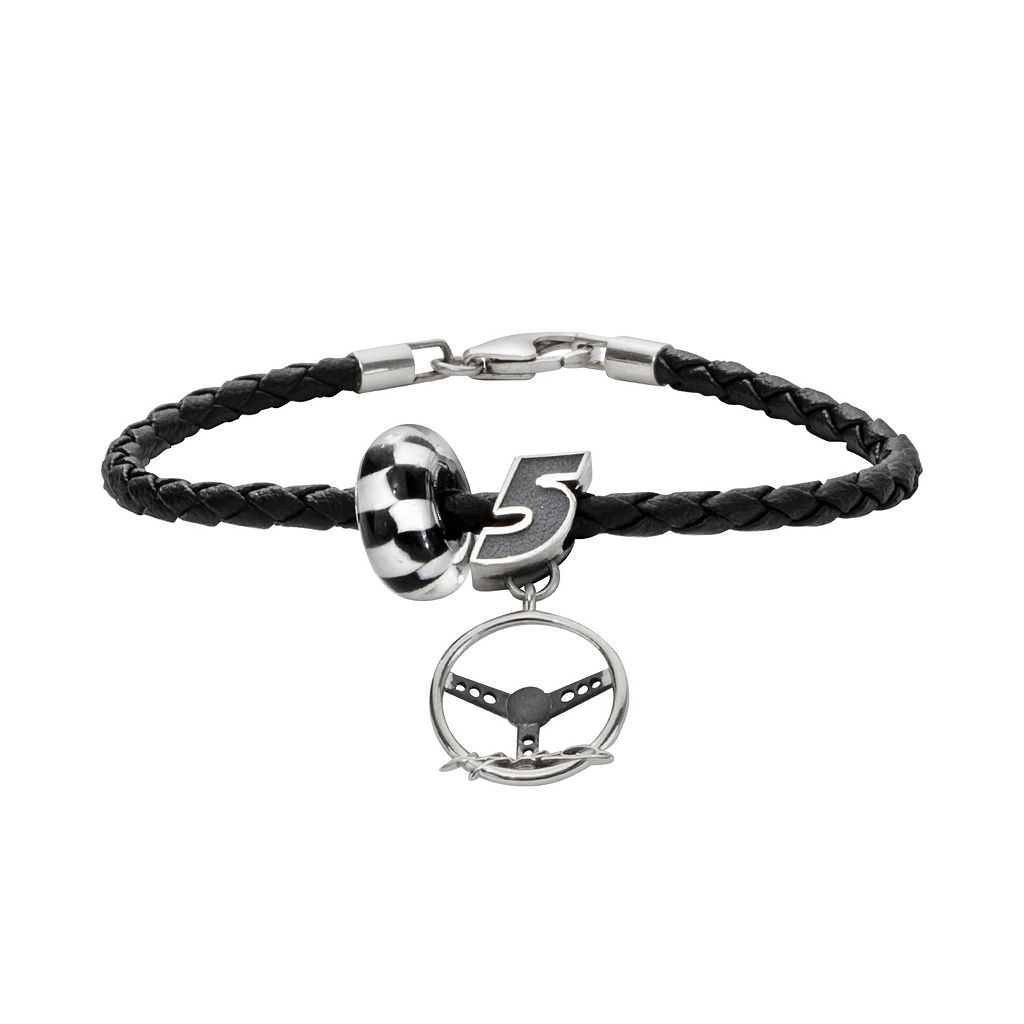 Insignia Collection NASCAR Kasey Kahne Leather Bracelet & Sterling Silver Charm & Bead Set