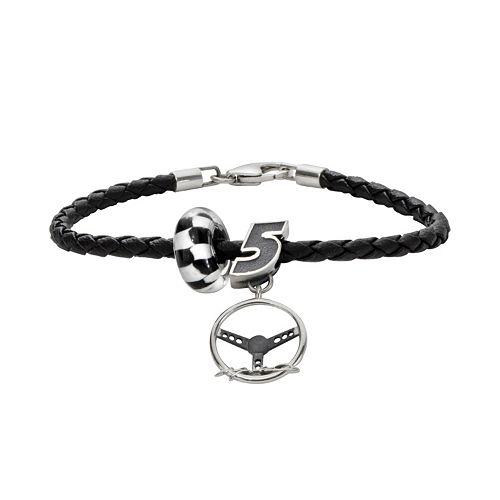 Insignia Collection NASCAR Kasey Kahne Leather Bracelet & Sterling Silver Charm & Bead Set