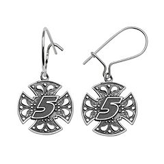 Insignia Collection NASCAR Kasey Kahne Sterling Silver '5' Maltese Cross Drop Earrings