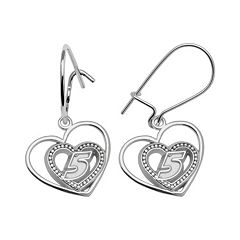 Insignia Collection NASCAR Kasey Kahne Sterling Silver '5' Heart Drop Earrings