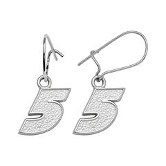 Insignia Collection NASCAR Kasey Kahne Sterling Silver '5' Drop Earrings