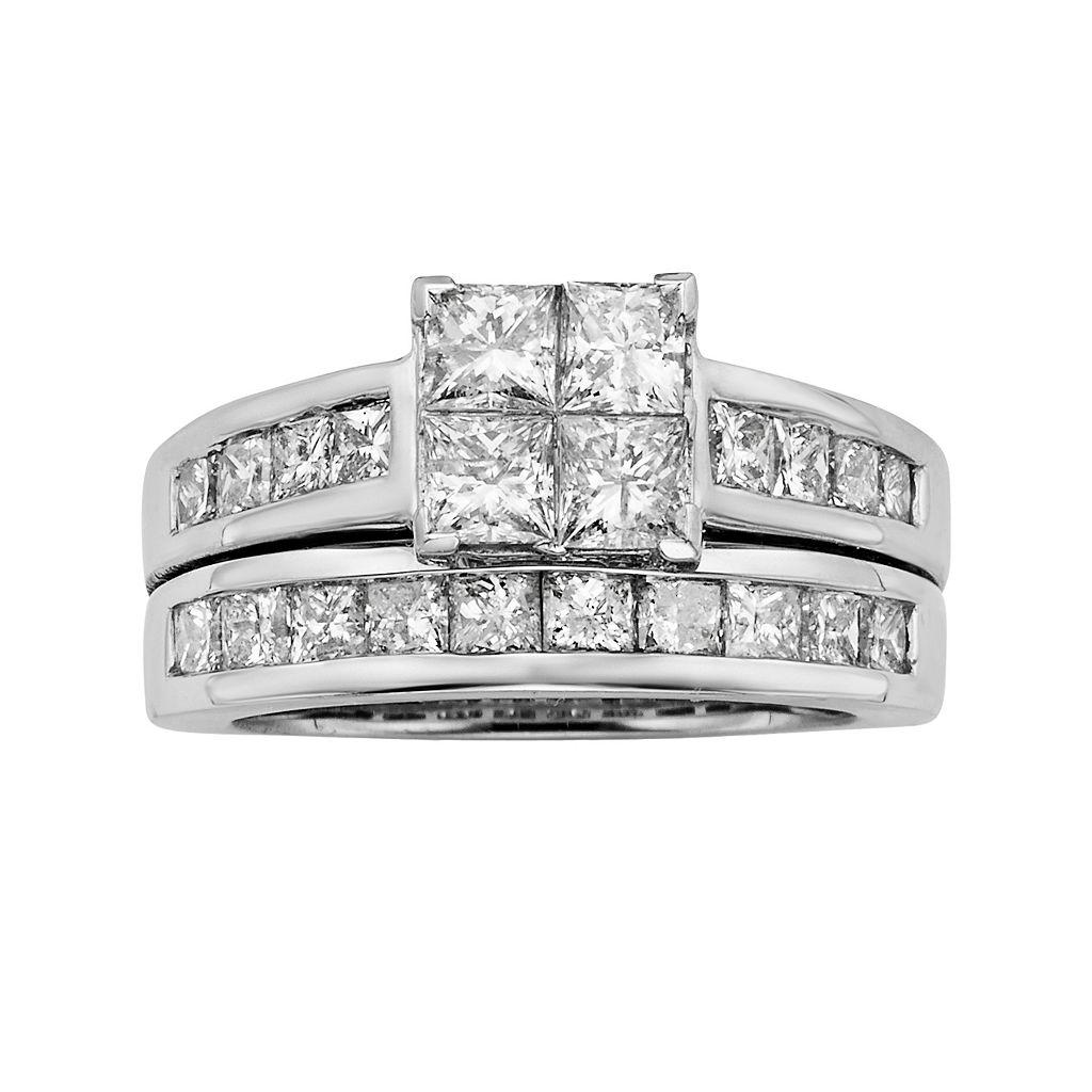 Princess-Cut Diamond Engagement Ring Set in 14k White Gold (3 ct. T.W.)