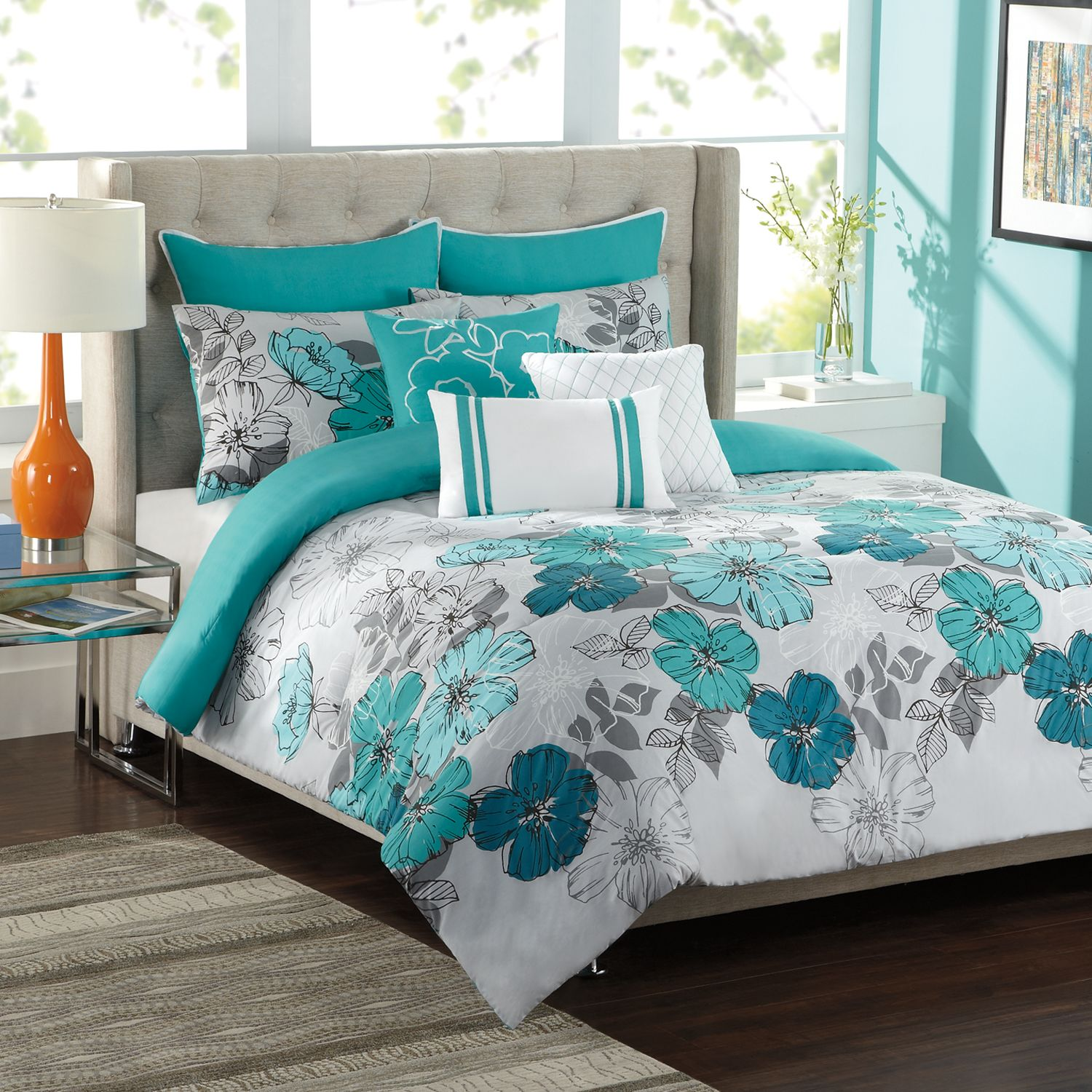 ks studio clara 8 pc comforter set full queen