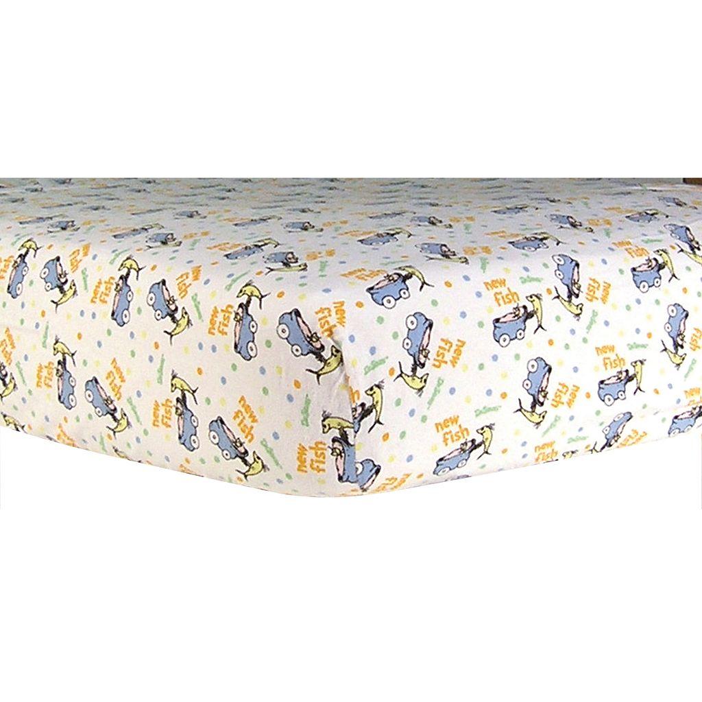 Dr. Seuss Fish Flannel Crib Sheet by Trend Lab