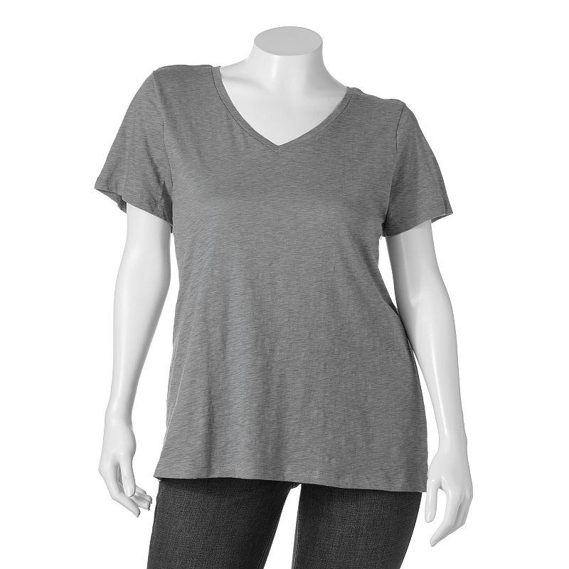 SONOMA life + style Slubbed Tee - Women's Plus (Grey)