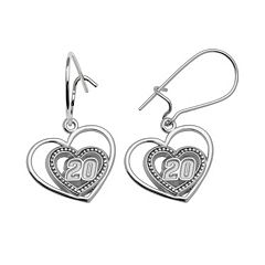 Insignia Collection NASCAR Matt Kenseth Sterling Silver '20' Heart Drop Earrings