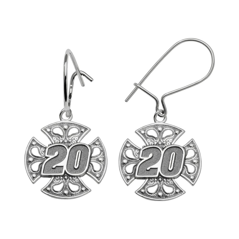"Insignia Collection NASCAR Matt Kenseth Sterling Silver ""20"" Maltese Cross Drop Earrings"