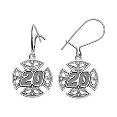 Insignia Collection NASCAR Matt Kenseth Sterling Silver '20' Maltese Cross Drop Earrings