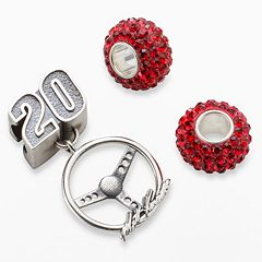 Insignia Collection NASCAR Matt Kenseth Sterling Silver '20' Steering Wheel Charm & Crystal Bead Set