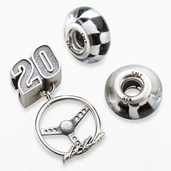 Insignia Collection NASCAR Matt Kenseth Sterling Silver '20' Steering Wheel Charm & Checkered Flag Bead Set