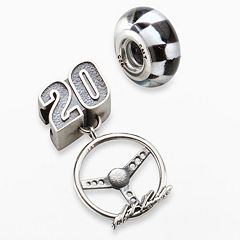 Insignia Collection NASCAR Matt Kenseth Sterling Silver '20' Charm & Checkered Flag Bead Set