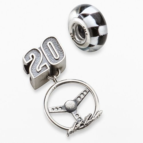 "Insignia Collection NASCAR Matt Kenseth Sterling Silver ""20"" Charm & Checkered Flag Bead Set"