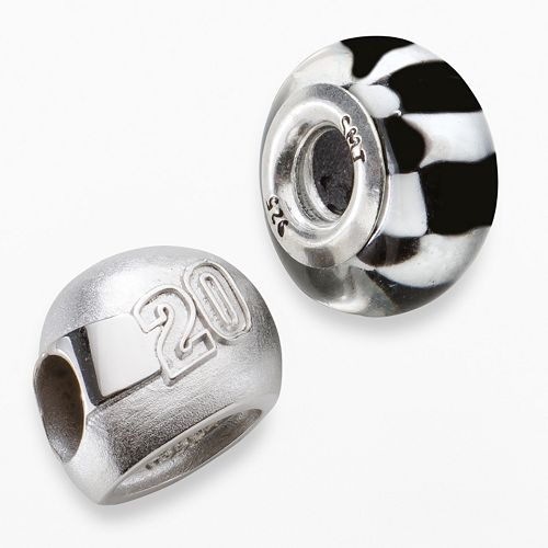 "Insignia Collection NASCAR Matt Kenseth Sterling Silver ""20"" Helmet & Checkered Flag Bead Set"