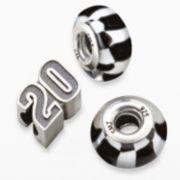 "Insignia Collection NASCAR Matt Kenseth Sterling Silver ""20"" & Checkered Flag Bead Set"