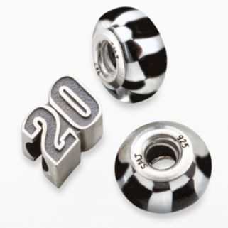 Insignia Collection NASCAR Matt Kenseth Sterling Silver 20 and Checkered Flag Bead Set