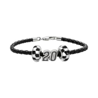 Insignia Collection NASCAR Matt Kenseth Leather Bracelet and Sterling Silver 20 Bead and Checkered Flag Set