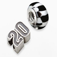 Insignia Collection NASCAR Matt Kenseth Sterling Silver '20' & Checkered Flag Bead Set