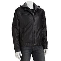 Men's Excelled Faux-Leather Hooded Motorcycle Jacket