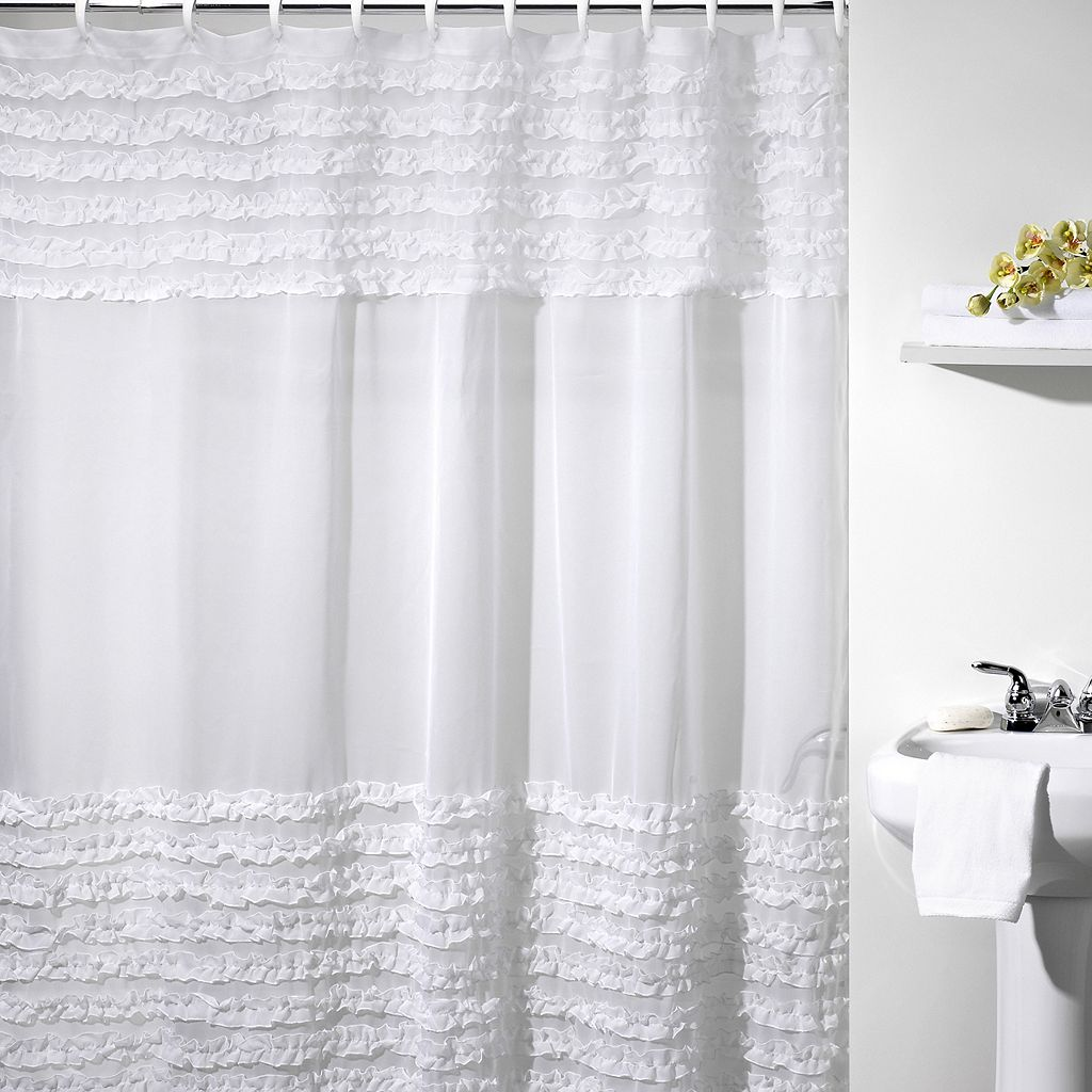 Creative Bath Ruffles Fabric Shower Curtain