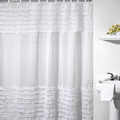 Creative Bath Ruffles Fabric Shower Curtain