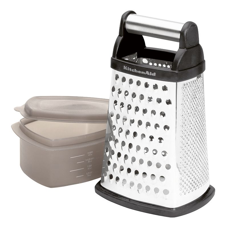 KitchenAid Box Grater, Black The chef in you is sure to love it. This convenient grater features stainless steel grating surfaces for long-lasting use and durability. And a versatile design with three grating sizes and one slicing blade, so you can prep anything from carrots to bread crumbs. With a rubber bottom and handle for secure grating. Plus, it includes a three-cup plastic container with a lid that conveniently fits inside the grater and catches food while you shred. The way to achieve professional results every time you cook! Includes grater and covered container Microwave, freezer & dishwasher safe container Dishwasher safe grater Manufacturer's1-year limited warrantyFor warranty information please click here Model no. KG300OBK Size: One Size. Color: Black. Gender: Unisex. Age Group: Adult. Material: Rubber/Stainless Steel/Plastic.