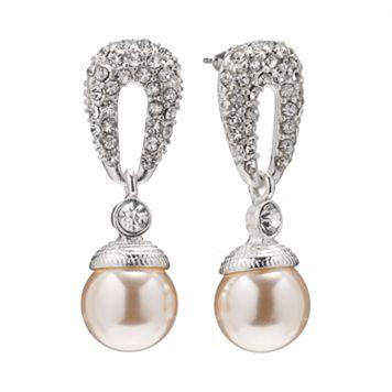 Silver Tone Simulated Pearl & Simulated Crystal Drop Earrings