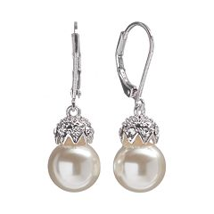 Silver Tone Simulated Pearl & Simulated Crystal Drop Earrings