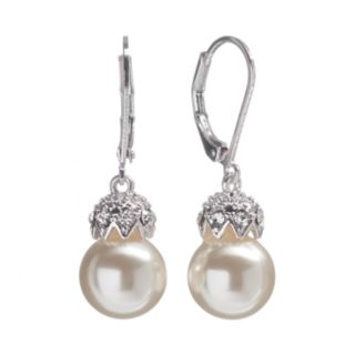 Silver Tone Simulated Pearl and Simulated Crystal Drop Earrings