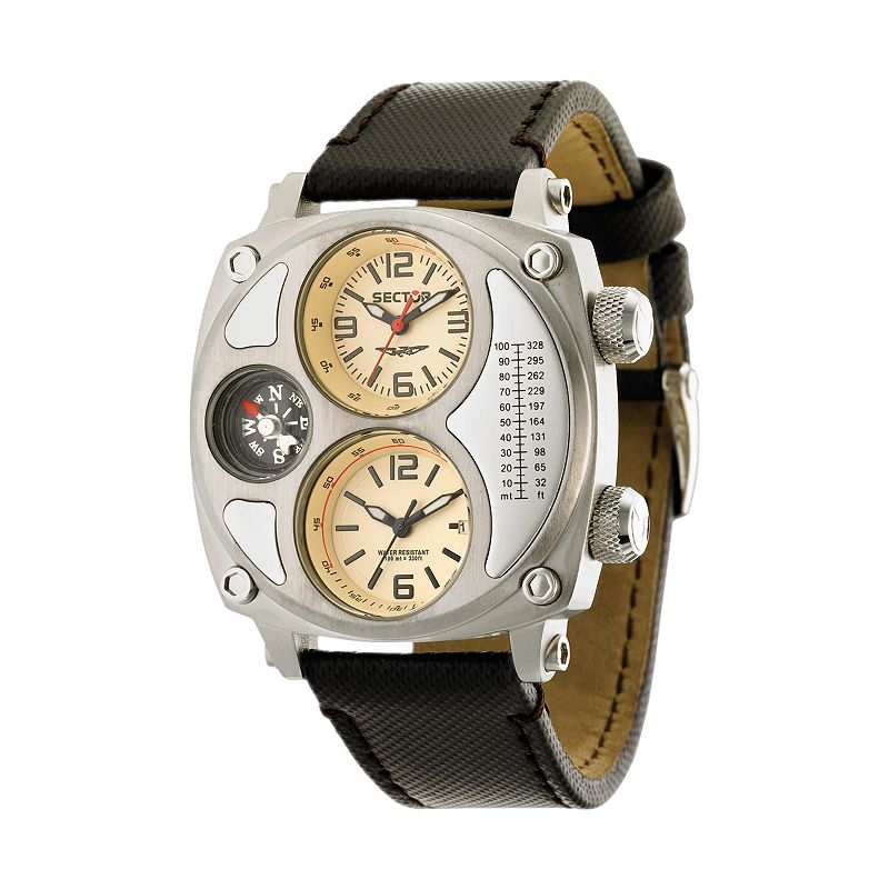SECTOR Mountain Compass Stainless Steel Dual Time Leather Watch - R3251207006 - Men