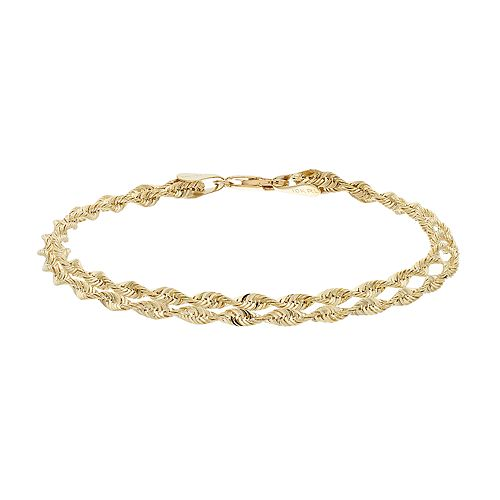 Everlasting Gold 10k Gold Double Rope Chain Bracelet - 7.5-in.