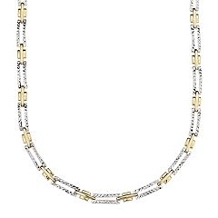 Everlasting Gold 10k Gold Two Tone Textured Rectangle Link Chain Necklace - 17 in