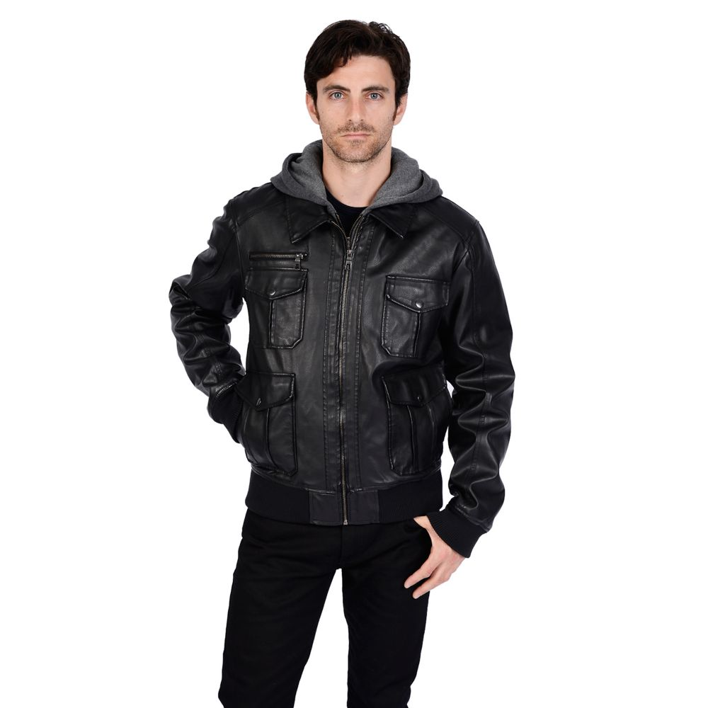 Excelled Faux-Leather Hooded Bomber Jacket