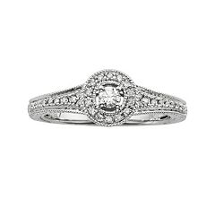 Round-Cut Diamond Halo Engagement Ring in 10k White Gold (1/4 ctT.W.)