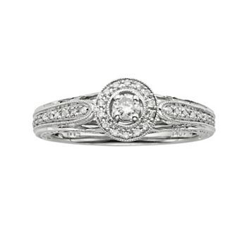 Round Cut Diamond Halo Engagement Ring In 10k White Gold