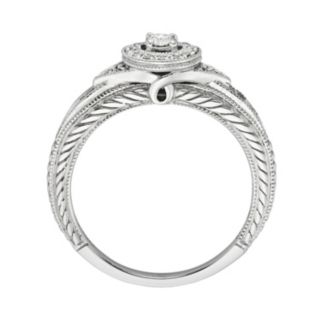 Round-Cut Diamond Halo Engagement Ring in 10k White Gold (1/4 ct. T.W.)