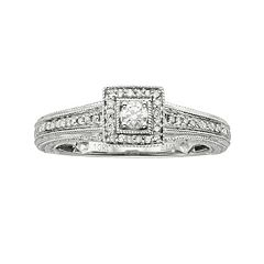 Round-Cut Diamond Engagement Ring in 10k White Gold (1/4 ctT.W.)
