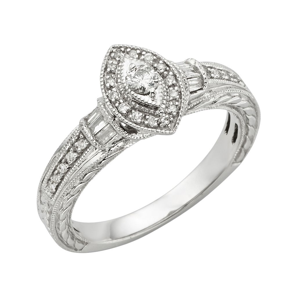 Round-Cut Diamond Engagement Ring in 10k White Gold (1/4 ct. T.W.)