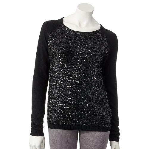 Women's ELLE™ Embellished Raglan Sweater