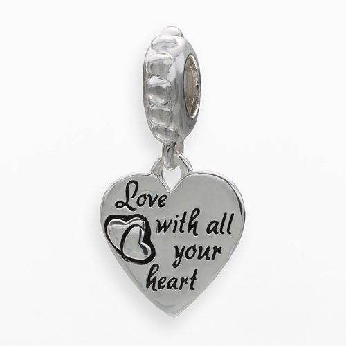 "Individuality Beads Sterling Silver ""Love"" Heart Charm"