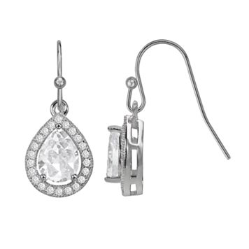 The Silver Lining Silver Plated Cubic Zirconia Teardrop Halo Earrings