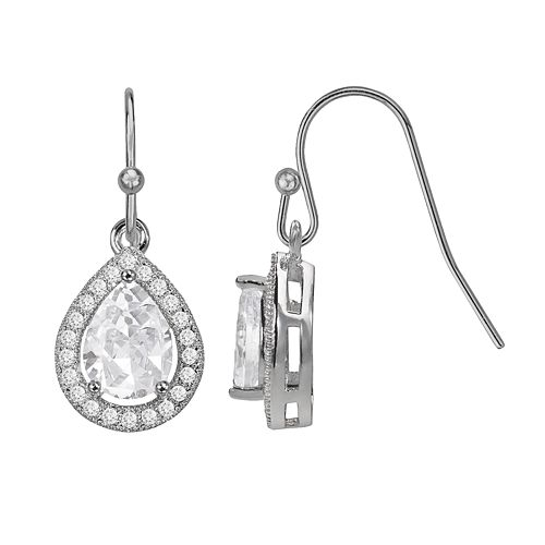 The Silver Lining Silver Plated Cubic Zirconia Teardrop Halo Earrings