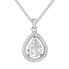 The Silver Lining Silver Plated Cubic Zirconia Teardrop Halo Pendant