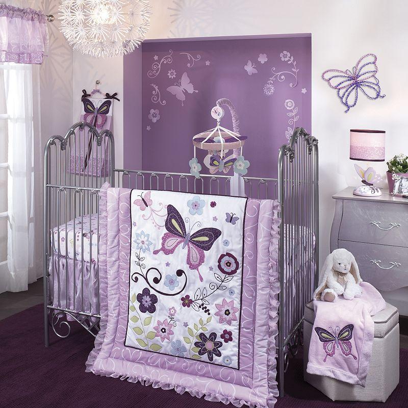 Lambs & Ivy Butterfly Lane 5-pc. Crib Bedding Set, Purple/Green (Purple/Ivy)