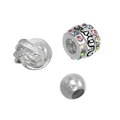 Individuality Beads Sterling Silver Crystal 'Sister,' Love Knot & Spacer Bead Set