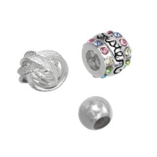 Individuality Beads Sterling Silver Crystal Sister, Love Knot and Spacer Bead Set