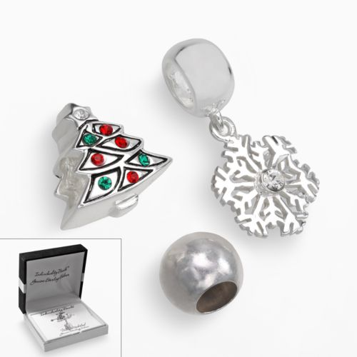 Individuality Beads Sterling Silver Crystal Christmas Tree and Spacer Bead and Snowflake Charm Set